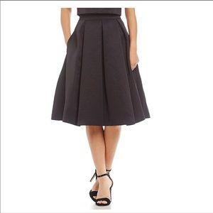 Eliza J Black Flared Pleated Midi Skirt 6